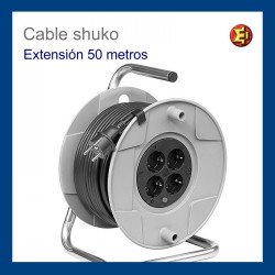 Cable alargador enrollable 50m. 4 tomas